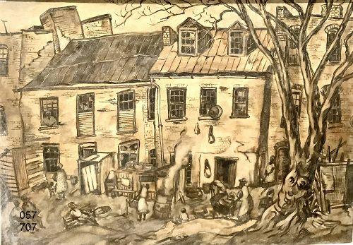 Georgetown circa 1947 oil on canvas by artist Ralph DEBOUGOS