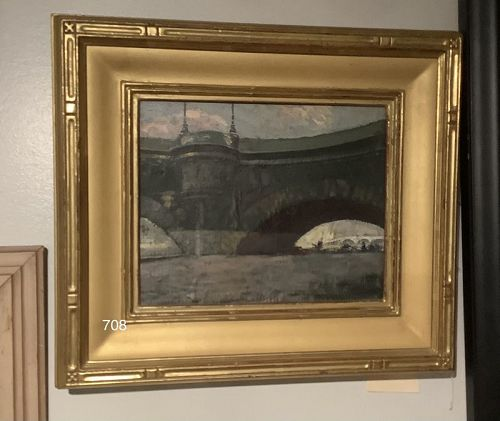 Walter SLEDE oil on canvas titled, Ponte Neuf Paris