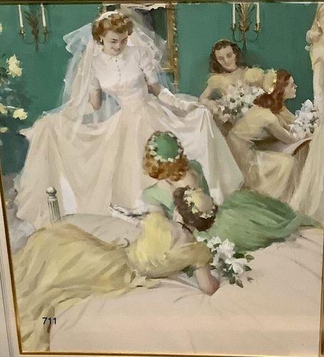 �Her Wedding Day� by artist John Gannam  watercolor gouache 24x18 inch
