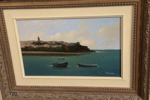 "A Karmane oil on canvas Seascape 9 x 13 1/2"""