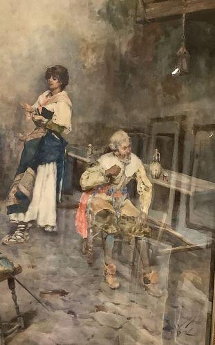 "Italian Watercolor Master Pennnacchini, circa 1882 ""Roma"" 27""x20"""