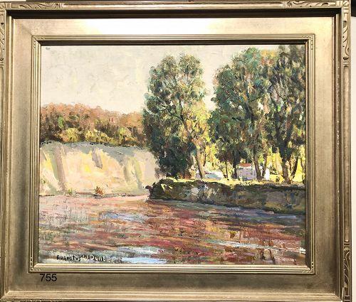 American Impressionist Augustus Dunbier Red River Landscape Oil