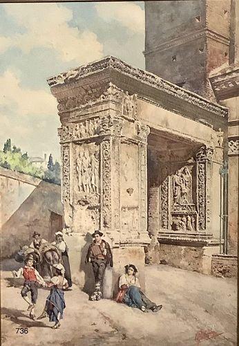 Italian Watercolor Master Pietro Gabrini 1856-1936