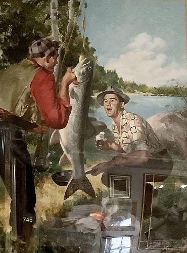 Original Illustration 1940s/50s Field & Stream Oil