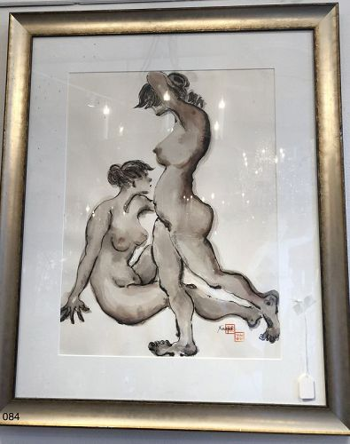 Chinese Master Ink Brush Painter Xiaopo �Double Nude�