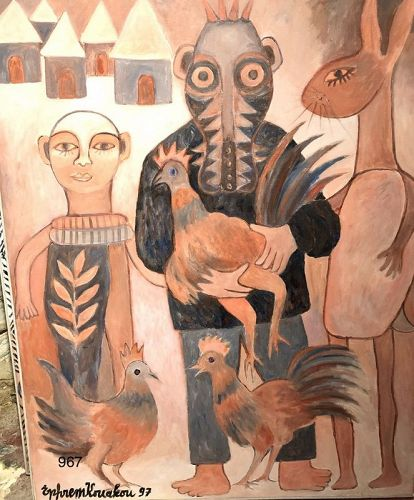 Abstract Figures with Chickens by Ephrem Kouakou