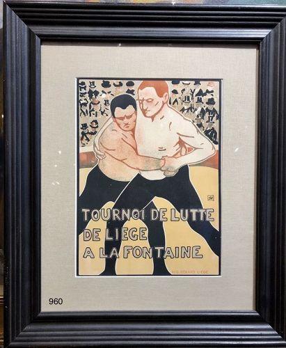 Wrestling Lithograph by Augustus Bernard Liege