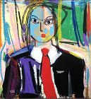 """Dominican Republic Artist RASCAL """"Woman with a Red Tie"""" Abstract Oil"""