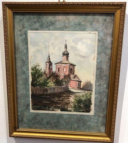 Ukrainian Church Watercolor by A. Bolatnrev Engraving