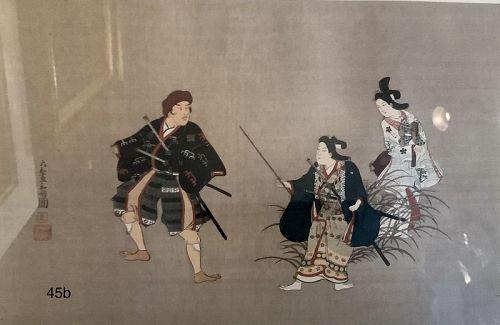 Japanese Woodblock Print Nineteenth Century Geisha and Samurai