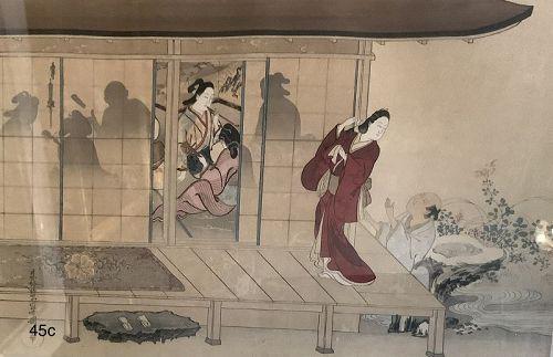 Japanese Woodblock Print Nineteenth Century Geisha Women