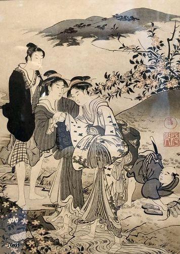 Japanese Geisha Woodblock Print circa 1880