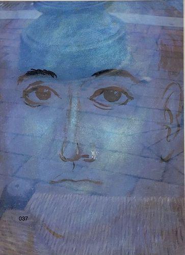 Portrait in Blue Abstraction lithograph J. Beverdam Artist