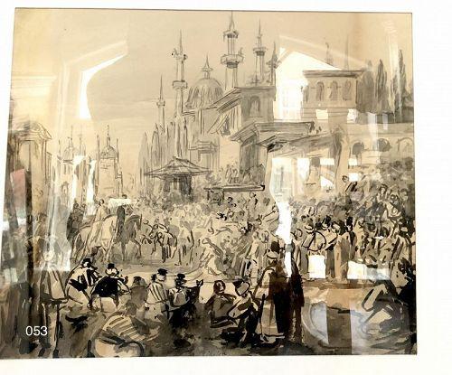 Scenes From Arabian Nights Mid-19th Century Watercolor