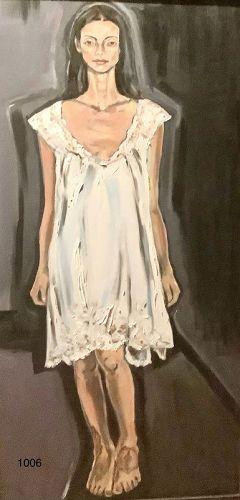"Anne LANE American Master oil on Canvas ""Women Series"" 48 x 24"""