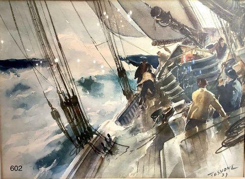 JAMES MILTON SESSION Marine Painter Watercolor Print 17 x 24� 1937