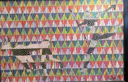 W. O�NEAL ARTIST, 1997 geometric background with figures