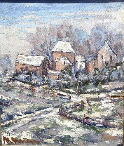 Artist Maggy Monier French �Winter In Normandy� oil 1930s