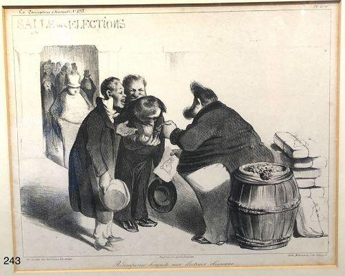 French artist Honoré Daumier �Salees des Elections� lithograph 10x12�