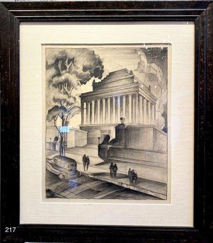 Masonic Scotish Rite Temple Charcoal Drawing 28x24