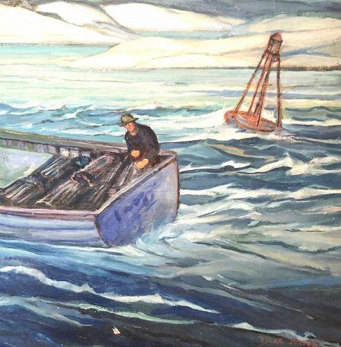 WPA Artist Oscar Julius 1882-1965 The Lobster Catch Oil Painting