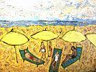 "4 Yellow Umbrellas Tropea, Italy Beach by Anne Lane  36 x 48"""