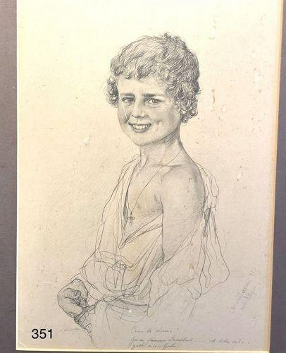 IItalaian Drawing Giuseppe Duatto Capri Boy 15 x 12�