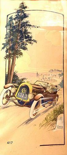 �Sur La Route Nanum� Gamy 1913 Early Automobile Lithograph