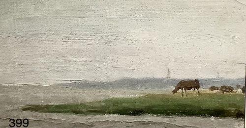 Russian Artist �cows near the Sea� Oil 4 x 7.5