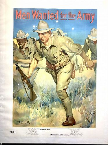 Rare WWI LITHOGRAPH �Men Wanted For Army� 26 x 59�