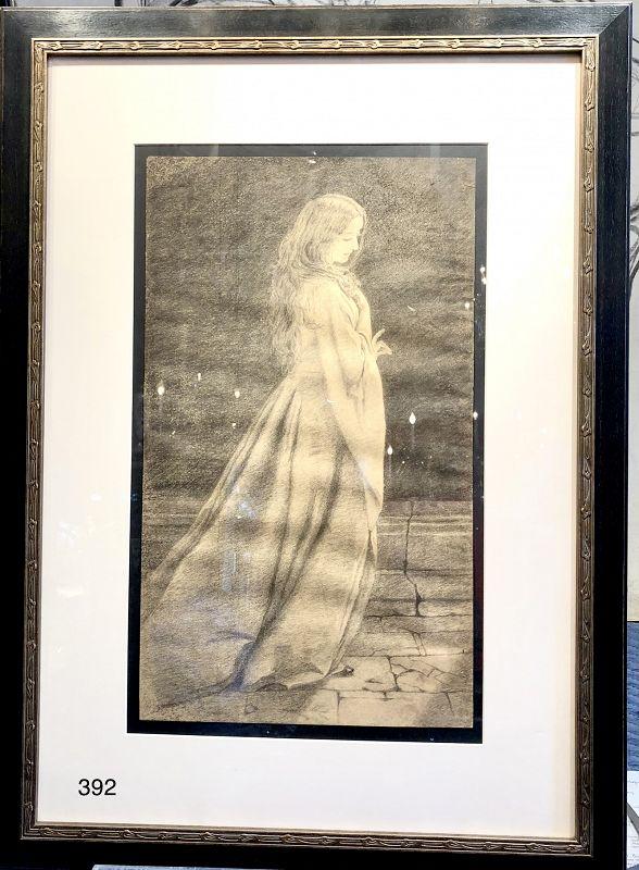 Elizabeth Shippen Green artist , Original Charcoal Drawing on paper
