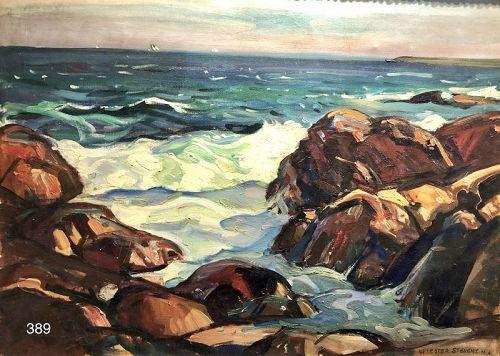 Artist WILLIAM LESTER STEVENS Maine Seascape 1920s Oil