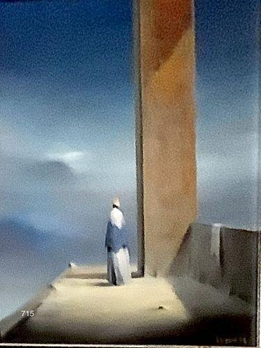 """American Master Artist Robert Watson, Figure in Landscape Oil 12x8"""""""