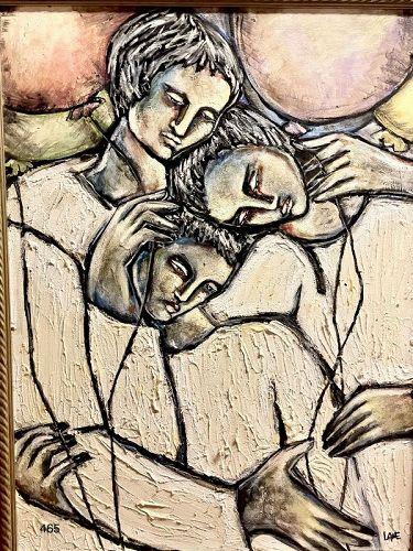 "American Master Anne Lane ""Three To Dream"" magnificent Oil 40 x 30"""
