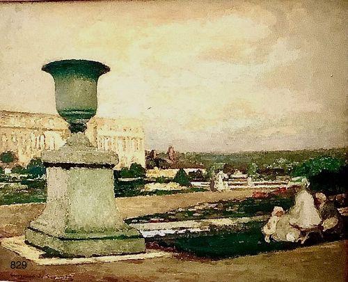 Artist Guirand DE SCEVOLA 1871-1950 �Picnic in the Louvre Garden� oil