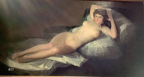 Goya School La Maja Desnuda 30x50� Oil