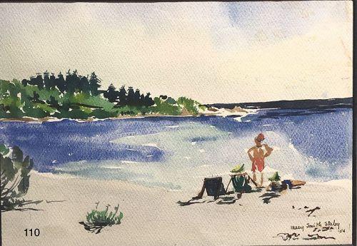Bermuda Artist Mary Smith Stanley Beach Scene Watercolor 10 x 13�