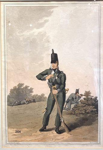 North York Militia 1814 ham colored aquatint 13 x 9�