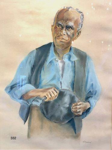 Artist J. Martin Portrait of a Man, Watercolor  Gouache 21 x 16�