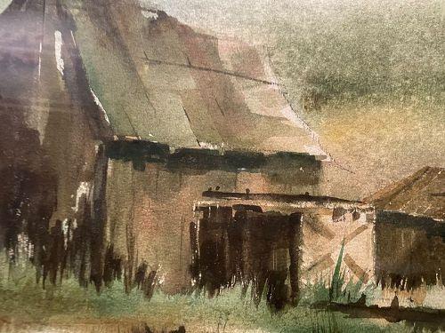 "Artist Bill Johnson Barn Farm Landscape watercolor 14x21"""
