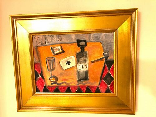 Cubist Still Life with Gin Bottle by Artist Ron Demetro Oil