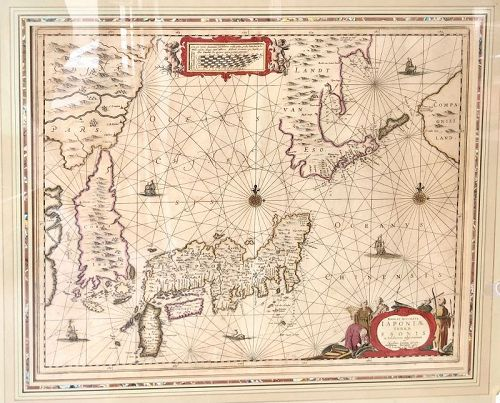 17th Century Map of Asia In Full Color 20x22 inches