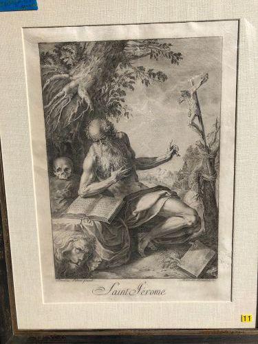Antonius BRACCIOLI Eighteenth Century  Drawing  Saint Jerome 21x13�