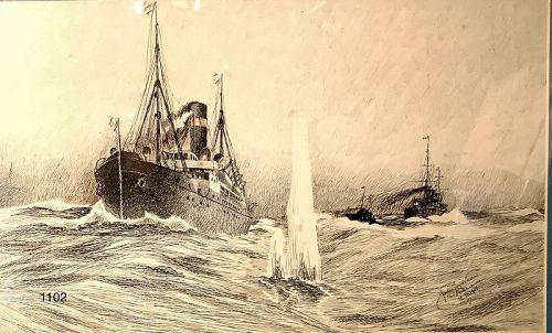 LESSER Charlottenburg 1914 WWI ink drawing 11x18�