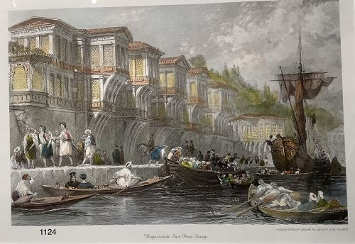 Turkish Lithograph �Harbor Scene 1600�modern print 16x20