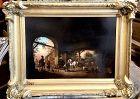 """18th Century Oil on Copper Dutch Stable Scene 16x23"""""""
