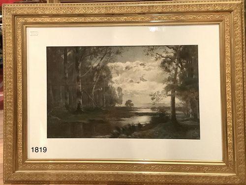 Beautiful Nineteenth Century Large Watercolor Lanscape 36x48�