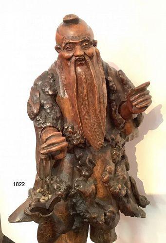"Japanese Edo Sculpture Immortal exotic of plenty 31"""