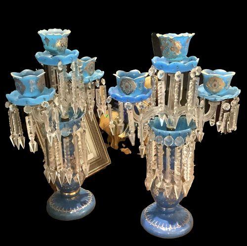 Persian Blue Crystal Candelabras Gilded Designs circa 1925 22�x14�