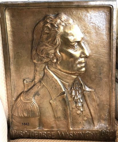 George Washington Bicentennial Gilded Bronze Plaque 22x17�